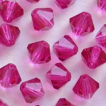 6mm Preciosa Crystal Bicone Fuschia - 72